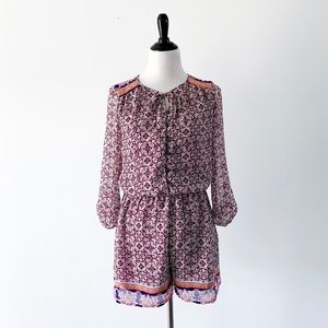 Xhilaration Button Up Printed Romper